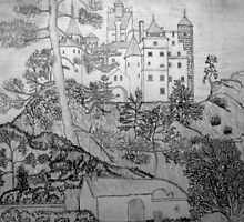 A pencil drawing of Bran Castle (Dracula) Romania by Dennis Melling