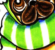 Pug Happy Scarf & Hat Sticker