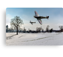 Boys will be boys: low-flying Spitfires Canvas Print