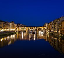 Ponte Vecchio at night by Geoffrey Fighiera