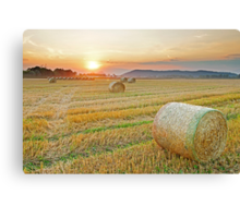 Hay bales at Sunset 2 Canvas Print