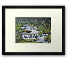 "Original Acrylic ""Forest Creek"" Landscape Painting Framed Print"