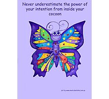 Yoga Butterfly in Namaste (purple background inspirational text) Photographic Print