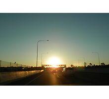 Setting Sun on the Freeway Photographic Print