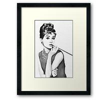Audrey Hepburn Watercolor Portrait Framed Print