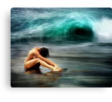 Nude Woman on Beach Canvas Print