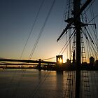 New York City Sunrise - Tall Ships and Brooklyn Bridge  by Georgia Mizuleva