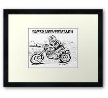 Black and white caferacer motorbike (3) Framed Print