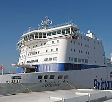 A Brittany Ferry docked in Pool Harbour   by Keith Larby