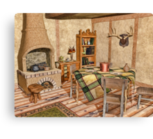 Humble Rustic Home - Country Cottage Interior Canvas Print