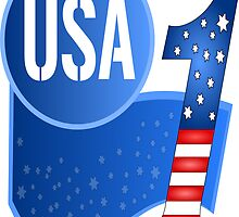 USA Flag Design with No.1 in the World  by punith
