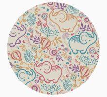 Elephants with bouquets pattern Kids Clothes