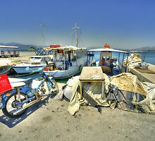 Bike and Boats at Nafplion Harbour by Rob Hawkins