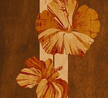 Kualoa Faux Koa Wood Hawaiian Surfboard with Hibiscus by DriveIndustries