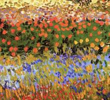 Flowering Garden. Vintage floral garden oil painting by Vincent van Gogh. Sticker