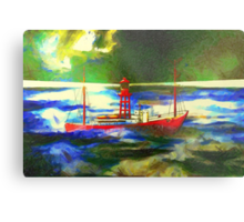 My digital painting of The South Goodwin Light Vessel Metal Print