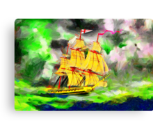 A digital painting of HMS Boreas, captain Horatio Nelson, in Stormy Weather Canvas Print