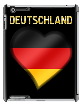 Deutschland - German Flag Heart & Text - Metallic by graphix