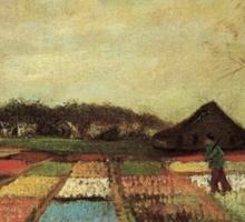 Flowering bulb field by Vincent van Gogh. vintage floral landscape oil painting. Sticker