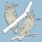 TWO OWLS by FoxBoy