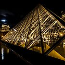 The angles, the lines, the moon at the Louvre in Paris. by Sven Brogren