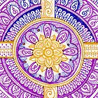 Purple and Gold Mandala Henna Tattoo Design by Rozine by rozine