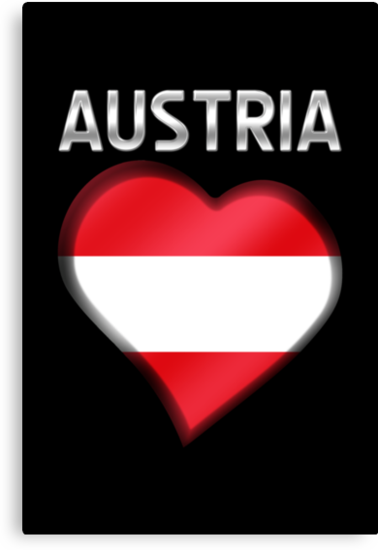 Austria - Austrian Flag Heart & Text - Metallic by graphix