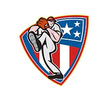 American Baseball Pitcher Shield by patrimonio