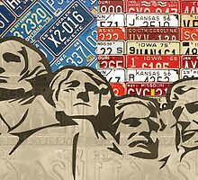 Mount Rushmore Monument Vintage Recycled License Plate Art by designturnpike
