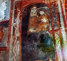 Mural Mary Jesus on wall S Maria Valle de Porclaneta 1030 198404070041  by Fred Mitchell