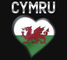 Cymru - Welsh Flag Heart & Text - Metallic by graphix