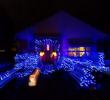 Abstract Christmas Lights - Blue Holidays House by Georgia Mizuleva