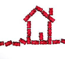 red jellybabies formed as a house by travel4pictures