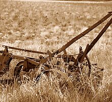 Sepia Antique Plow Abandoned in a Field by rhamm