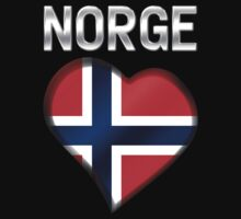 Norge - Norwegian Flag Heart & Text - Metallic by graphix