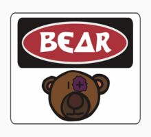 CARTOON BEAR, FUNNY DANGER STYLE FAKE SAFETY SIGN Kids Clothes