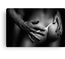 Sexy Couple Closeup of Bodies Black and white art photo print Canvas Print