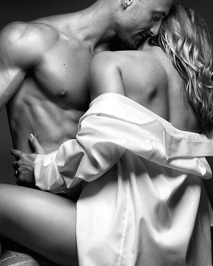 Sensual couple portrait Woman Embracing a Muscular Man art photo print by ArtNudePhotos