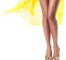 Sexy woman legs with yellow dress flying behind art photo print by ArtNudePhotos