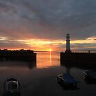 Sunset over Newhaven Harbour by Pat Millar