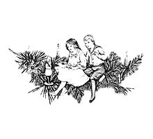 Victorian Children At Christmas Time, Sitting on a Christmas Garland. by digitaleclectic