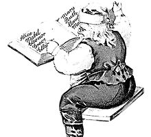 Santa is Making A List And Checking It Twice. Vintage Santa Claus For Old Fashioned Christmas. by digitaleclectic