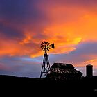 Sunset Barn and Windmill by deleas
