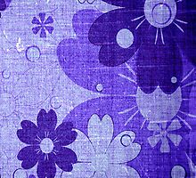 Vintage Purple Flower with Wood Grain by Nhan Ngo