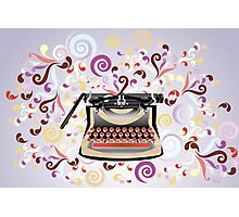 Creative typewriter in retro style with colorful swirls Photographic Print