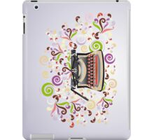 Creative typewriter in retro style with colorful swirls iPad Case/Skin