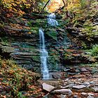 October Foliage Surrounds Ganoga Falls by Gene Walls