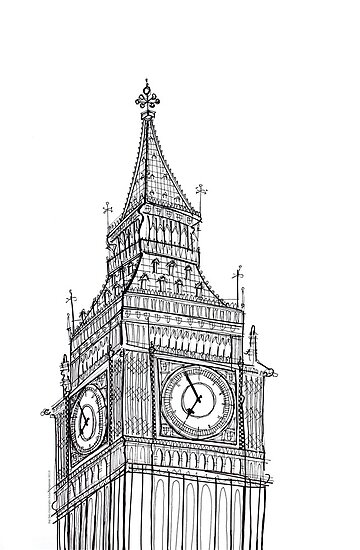 Big ben line drawing by adam regester