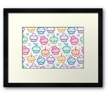 Colorful doodle cupcakes pattern Framed Print
