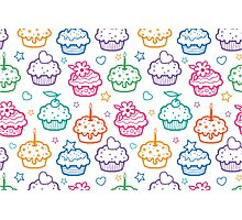 Colorful doodle cupcakes pattern Photographic Print